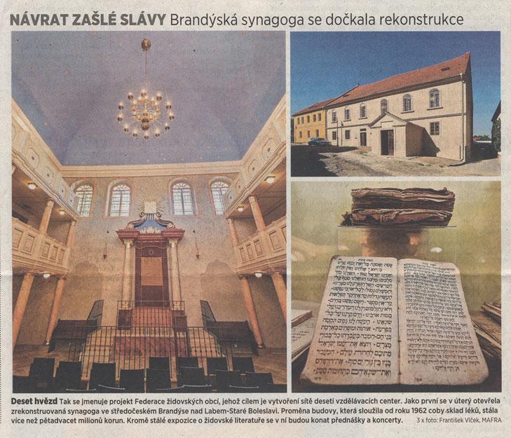 Návrat zašlé slávy. Brandýská synagoga se dočkala rekonstrukce, MF Dnes, 11. 6. 2014