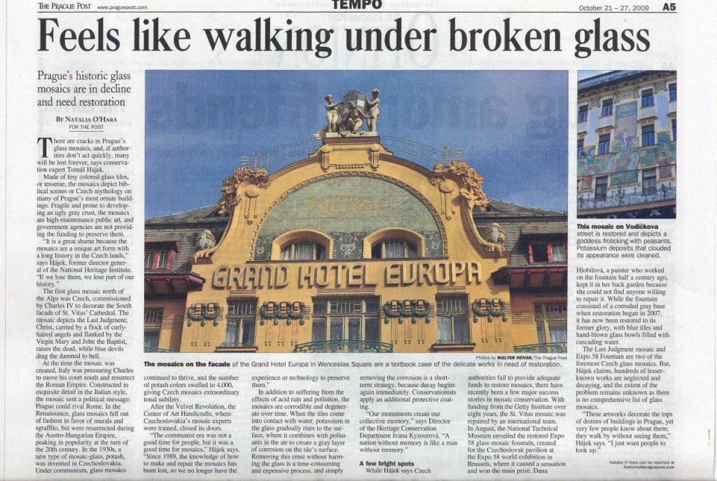 Feels like walking under broken glass,Prague Post, 21. - 27. 10. 2009