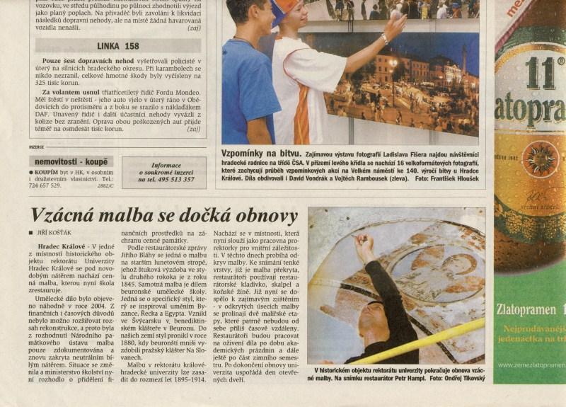 Vzácná malba se dočká obnovy, Hradecké noviny, 17. 8. 2006