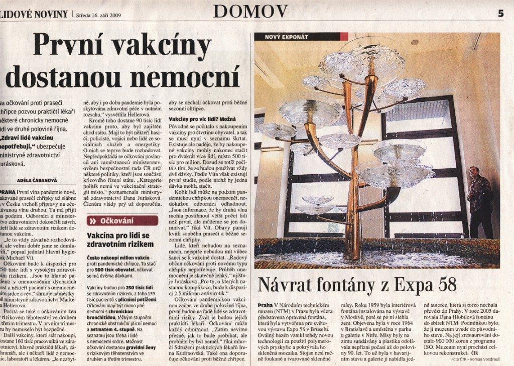 Návrat fontány z Expa 58, Lidové noviny 16. 9. 2009