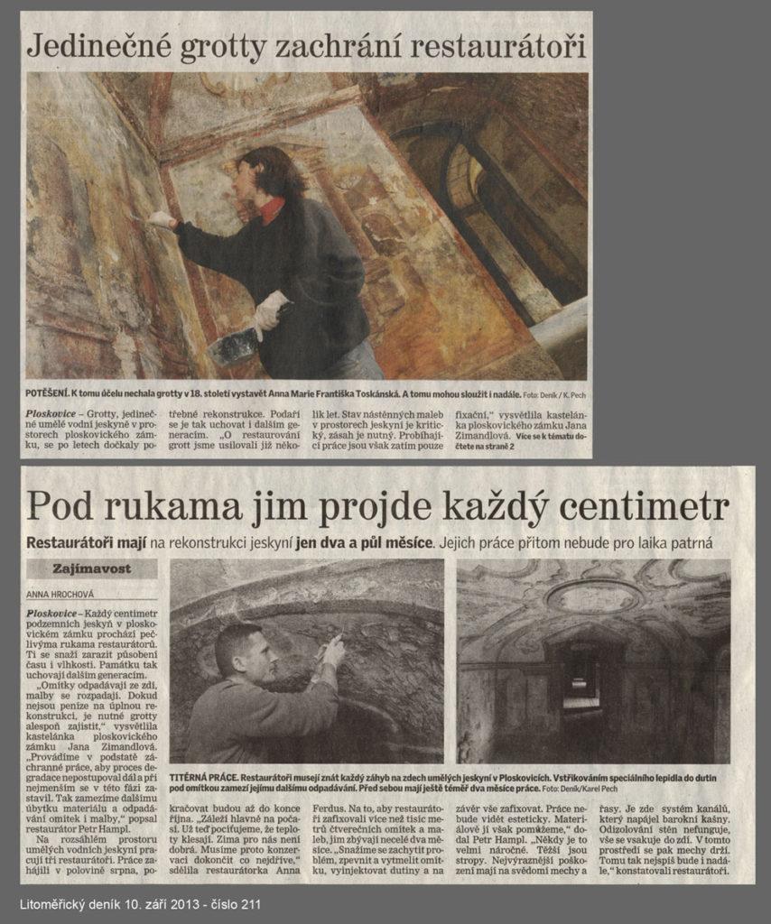 Jedinečné grotty zachrání restaurátoři, Litoměřický deník, 10. 9. 2013