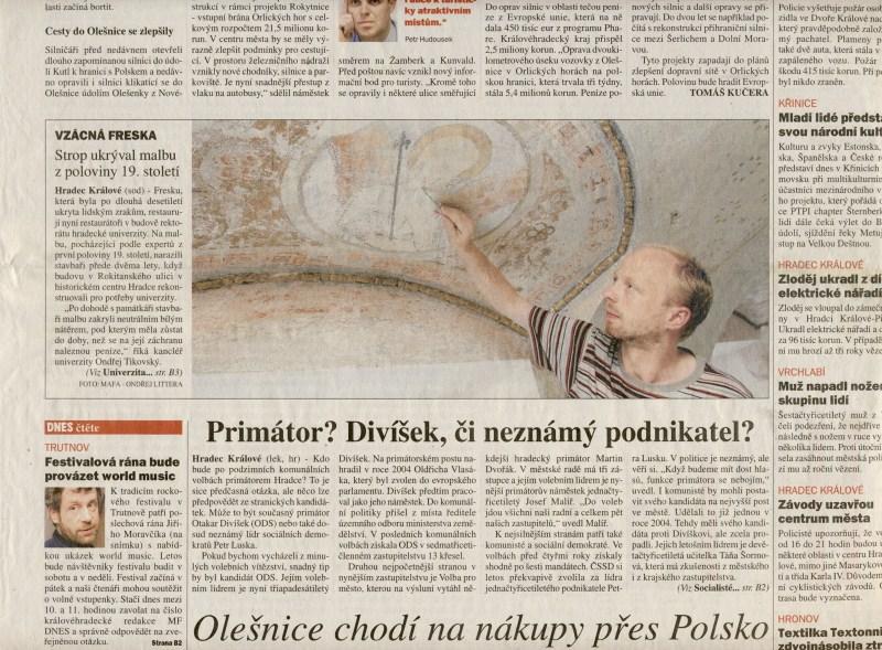 Vzácná freska. Strop ukrýval malbu z poloviny 19. století, MF Dnes, hradecký region, 15. 8. 2006