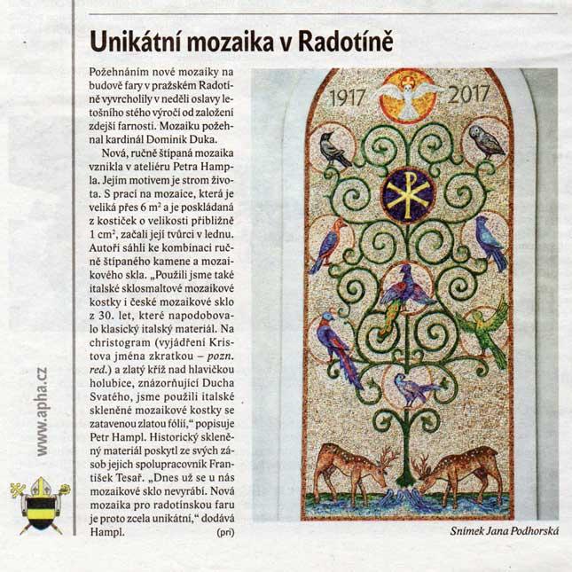 Unikátní mozaika v Radotíně, Katolický týdenník č. 35, 2017