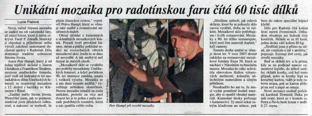 Unikátní mozaika pro radotínskou faru čítá 60 tisíc dílků, Právo, 18. 7. 2017