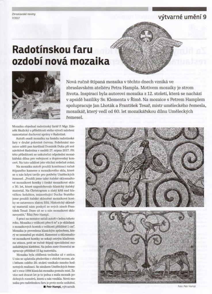 Radotínskou faru ozdobí nová mozaika, Zbraslavské noviny, 7, 2017