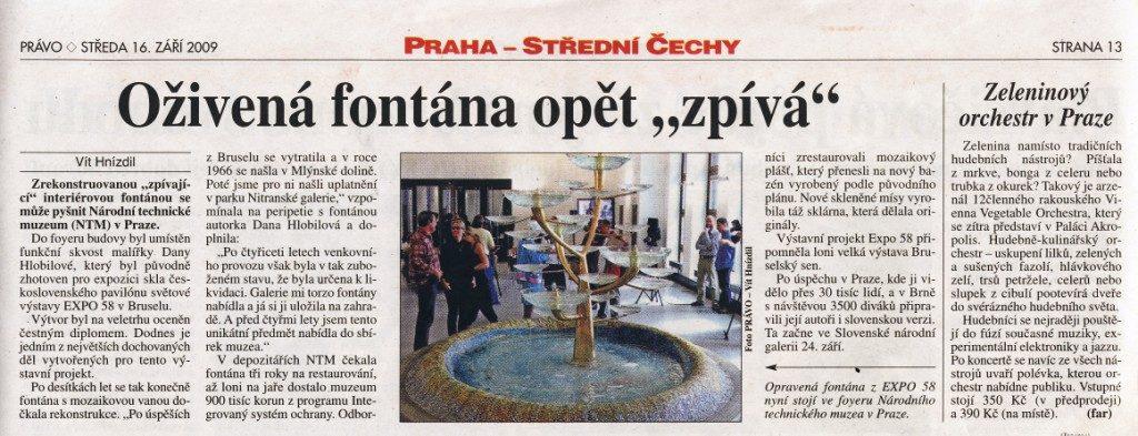 Oživená fontána opět zpívá, Právo 16. 9. 2009