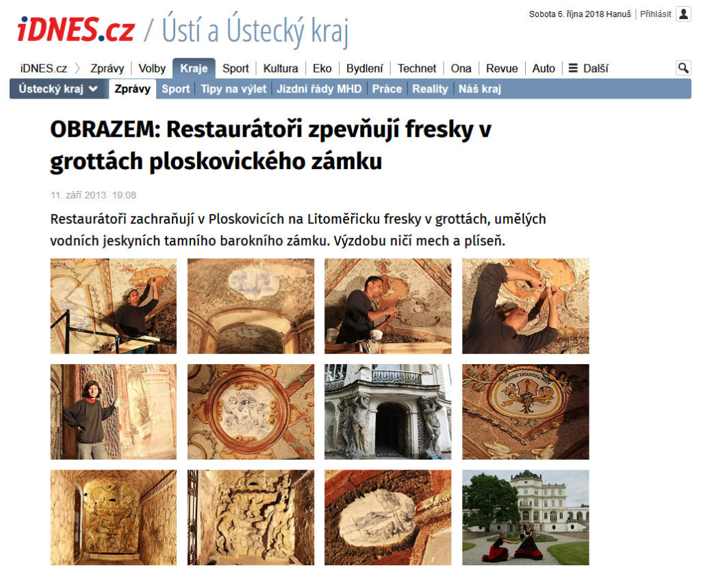 Restaurátoři zpevňují fresky v grottách ploskovického zámku