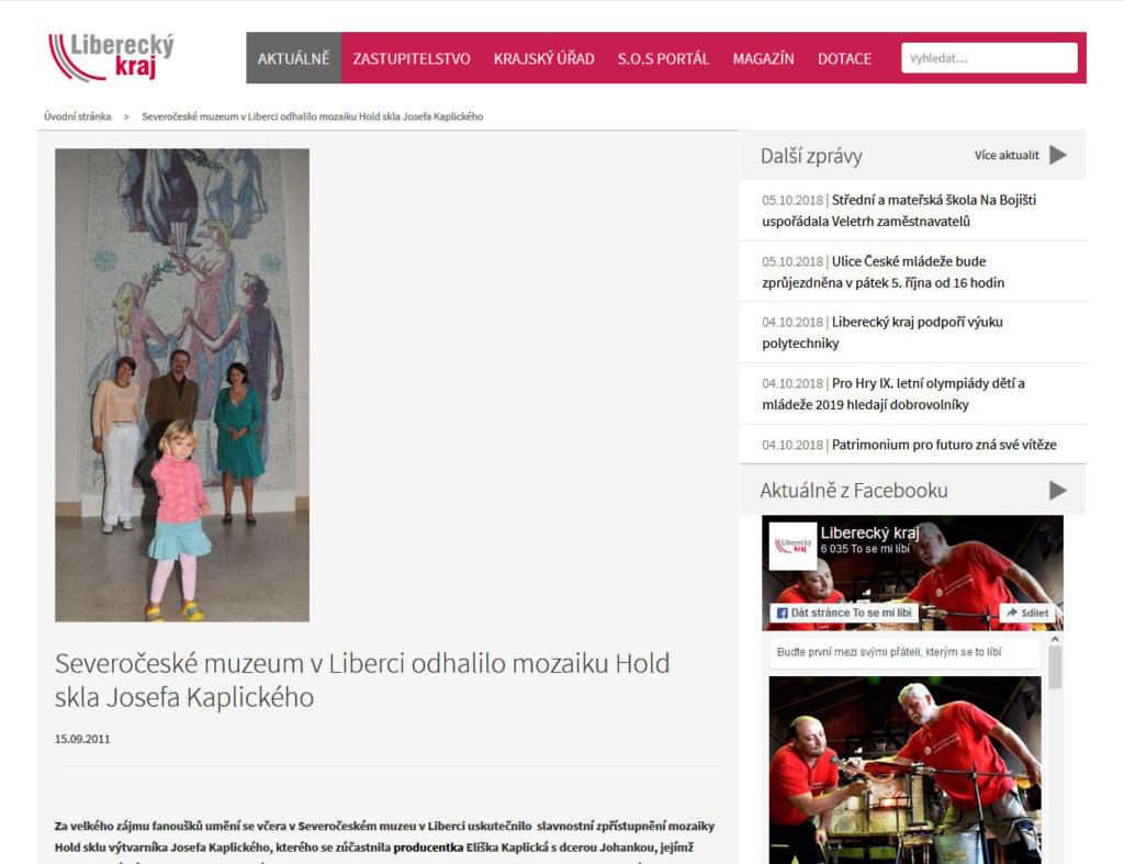 Severočeské muzeum v Liberci odhalilo mozaiku Hold skla Josefa Kaplického