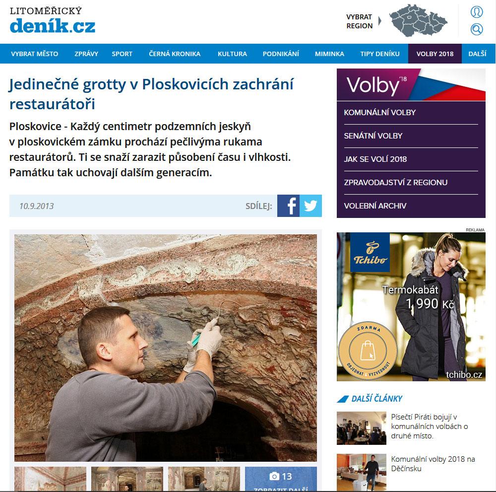 Jedinečné grotty v Ploskovicích zachrání restaurátoři, Litoměřický deník