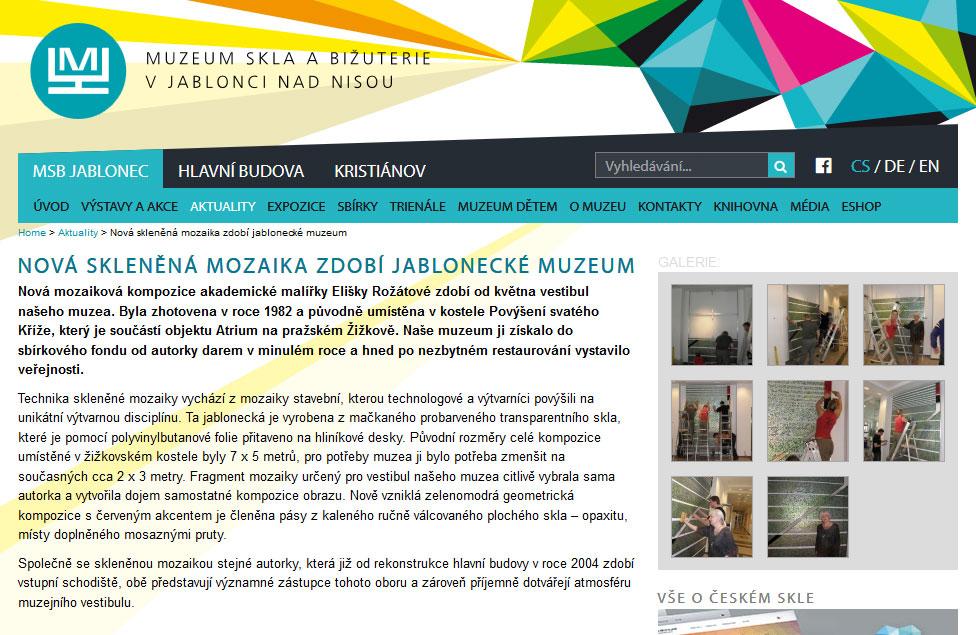 Nová skleněná mozaika zdobí jablonecké muzeum