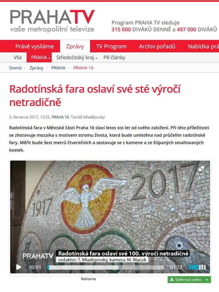 Radotínská fara oslaví sté výročí netradičně. Zprávy TV Praha 3. července 2017